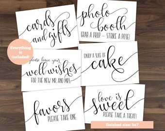 BUNDLE - Reception Sign - Instant Download - Hand Calligraphy Signs