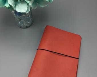 Coral Red - B6 Regular - Leather Traveler's Notebook/Fauxdori/TN Planner Cover