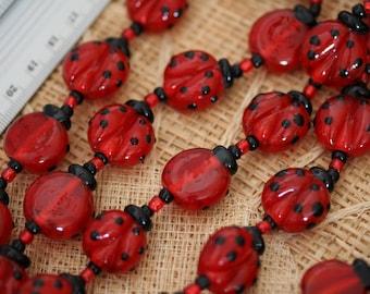 20mm Ladybug Handmade Lampwork Glass Beads, 12 beads pack L10112