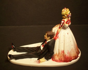 Halloween SALE Zombies Bride and Groom Funny Wedding Cake Topper Funny Scary Horror No Game