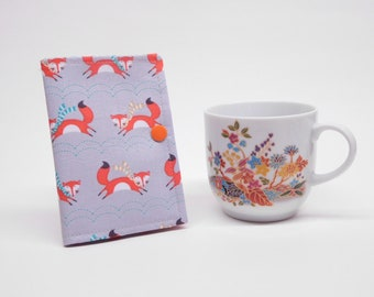 gray orange fox tea wallet, travel tea bag holder, tea bag caddy, tea bag organizer, stocking stuffer, tea lovers gift under 10, Mothers day