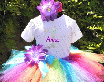 Rainbow Birthday Tutu Set Shirt and Tutu Skirt Girls First Birthday Outfit Personalized Name Rainbow 1 T-shirt 6-12 months 12-18 months