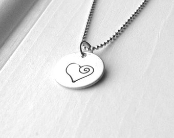Hand Stamped Heart Necklace, Large Heart Necklace, Swirl Heart Necklace, Sterling Silver Heart Necklace, Heart Jewelry, Charm Necklace