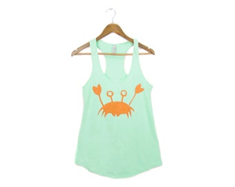 Happy Crab Tank - Racerback Scoop Neck French Terry Swing Tank Top in Mint and Orange - S-2XL Q