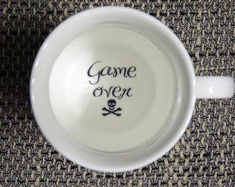 game over Coffee Mug, surprize mug, Bottom mug, hidden message, secret message, Funny, Cool, Coffe cup