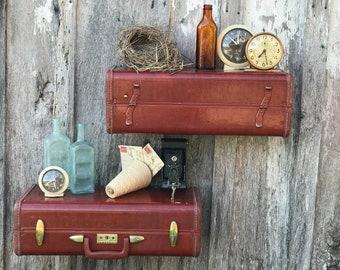 Pair of Wall Shelves Made from Vintage 1950s Era Brown Samsonite Suitcase Luggage Shelf Repurposed Suitcase Shelves