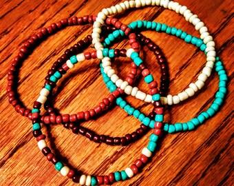 Seed Bead Stretch Bracelet Set/ Southwestern