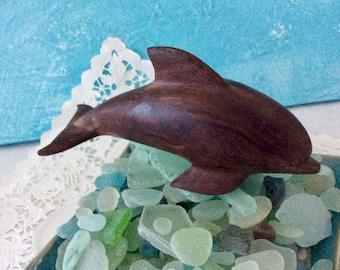 Dolphin - wood Sculpture - Ocean Decor - Nautical Home Decor - Ocean Art - dark wood - Bookshelf Decor - gift idea