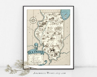 ILLINOIS MAP PRINT - size & color choices - personalize it - pictorial vintage map to frame - gift idea for many occasions - lovely wall art