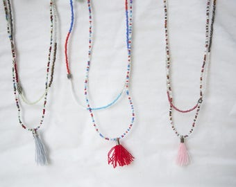 Long seed bead Tassel Necklace