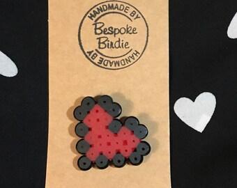 Handmade Pixel Heart Badge