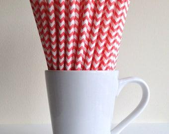 Coral Chevron Paper Straws Party Supplies Party Decor Bar Cart Cake Pop Sticks Mason Jar Straws Graduation