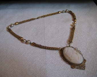 Hand Carved Shell Cameo Highly Detailed with Woven Chain and Faux Pearls 17 1/2 Inches