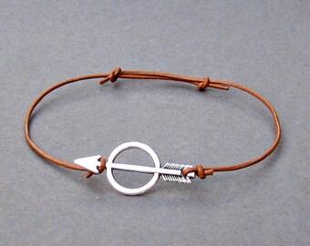 Unisex Arrow Leather Bracelet Spear Leather Bracelet Boyfriend Girlfriend Gift Silver Dainty Bracelet Adjustable