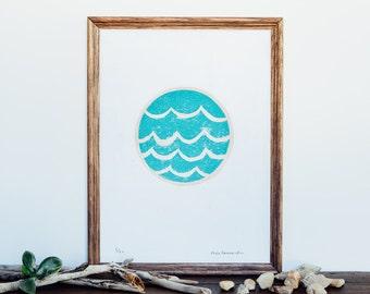 A4 Circle Wave - Limited Edition Linocut Art Print
