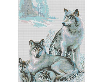 Cross Stitch Pattern Wolves counted embroidery