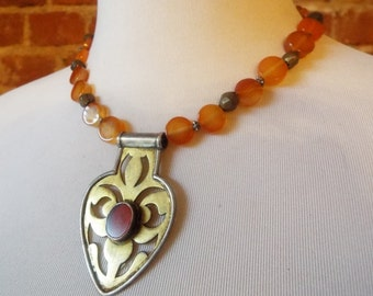 Bold Carnelian and Copper Pendant Statement Necklace