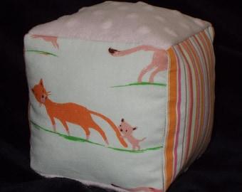 Cream Kitties Fabric Block Rattle Toy