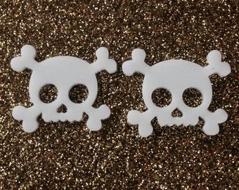 Laser Cut Acrylic Skull and Crossbone Stud Earrings