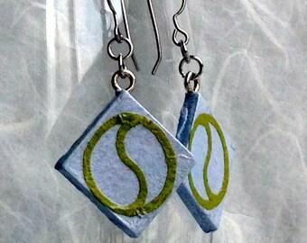 Sky Blue Diamond Earrings Handmade Hanji Paper Earrings Blue Green Earrings Circular Design Hypoallergenic hooks Lightweight Dangle Earrings