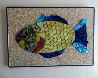 Mosaic Fish Colorful Fused and Stained Glass Wall Art Original Design Home Decor Beach Cottage