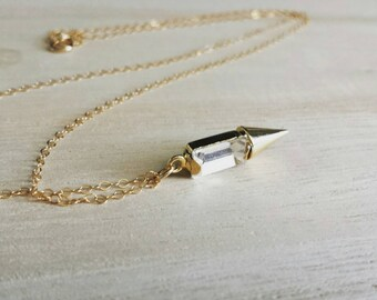 Jewel spike necklace on gold filled chain, edgy modern layering jewelry