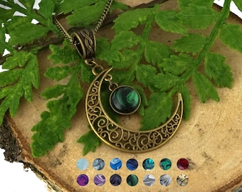 Celtic moon necklace Fantasy moon necklace Crescent moon necklace Steampunk necklace Victorian necklace Bronze necklace Jewelrygift for her