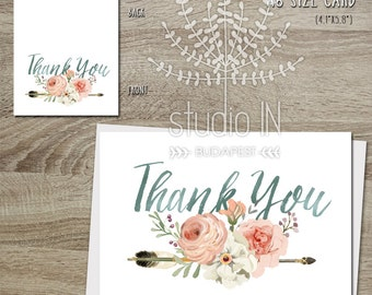 Thank You Card, Floral and Arrow Thank You Card, Flower stationery, wedding thank you, Birthday Thank you card, rustic thank you card,
