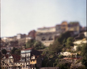 Porto, City on the hillside, Architecture, Signed Photography Giclee Print, Limited Edition, Analog, Square, Large Scale, City Decor