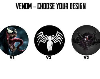 "VENOM 2.25"" Button Style Pins, Mirrors, Magnets, Bottle Openers & Keychains"