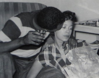 Young Love - Cute 1950's African American Couple Under A Watchful Eye Snapshot Photo - Free Shipping