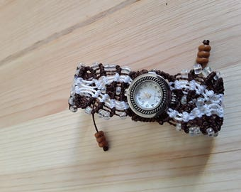 White and Brown macrame ladies watch