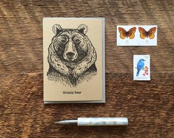 Grizzly Bear, Letterpress Note Card, Blank Inside