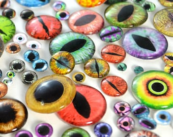 Glass Eye Overstock Wholesale Lot 20 Cabochons in Random Designs - Choose Size 6mm 8mm 10mm 16mm 25mm 30mm - For Taxidermy or Jewelry Making