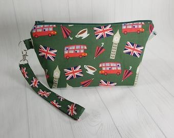 Small Knitting Project Bag, London Scene, Big Ben, Union Jack, Double Decker Bus, Zipper Knitting Wedge Bag, Cosmetic Bag WS0084