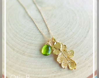Real leaf necklace with natural gemstone, birthstone necklace, sterling or gold dipped leaf, sterling silver, autumn fall wedding