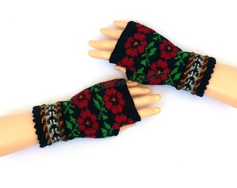 Hand Knitted Fingerless Mitts Latvian Fingerless Gloves Arm Warmers Patterned Texting Gloves Driving Gloves Hand Warmers Wrist Warmers Gift