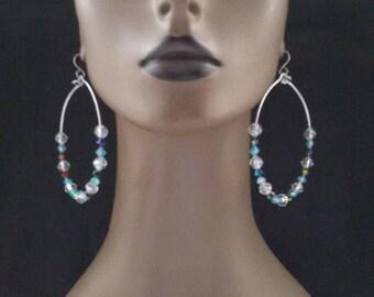 Beautiful Wire Hoop Beaded Earrings, Wire Earrings, Dangling Earrings, Large Earrings, Womens Earrings, Jewelry, Hoop Earrings