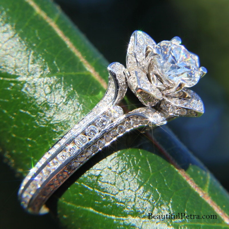 UNIQUE Flower Rose Diamond Engagement or Right Hand Ring - 2.20 carat - 14K white gold - wedding - brides - fL01
