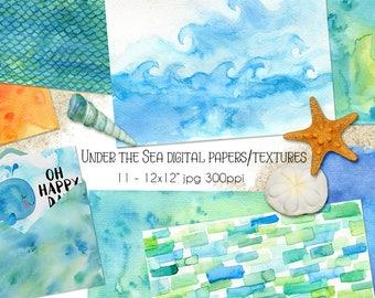 Under the Sea Watercolor Textures, Digital Papers, Digital Scrapbooking, Summer, INSTANT DOWNLOAD, CU, card making  Scrapbooking, Planner