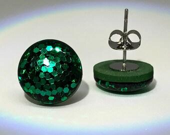 Emerald Glitter Studs