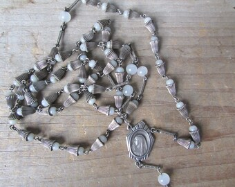 Catholic Rosary Vintage Prayer Beads Rosary Sterling Medallion No Cross