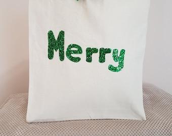 Green Merry canvas tote shoulder bag