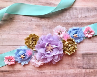 Under the sea sash, Purple Gold and Blue Sash/Belt/Maternity Sash/Pregnancy Sash/Gender Reveal/Gift/Keepsake/Photo Prop