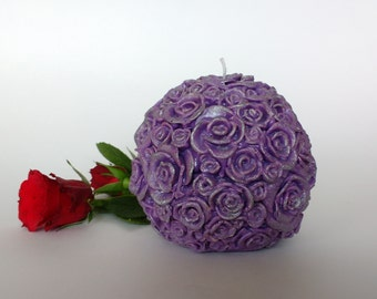 Rose ball candle Decorative candle Candles Unique candle  Handmade candle Gift idea Artistic candle Purple candle