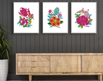 Chinese Paper Cutting Butterfly and Flower set of 3, Chinoiserie design inspiration, craft, card, scrapbook, Wall Art, INSTANT DOWNLOAD