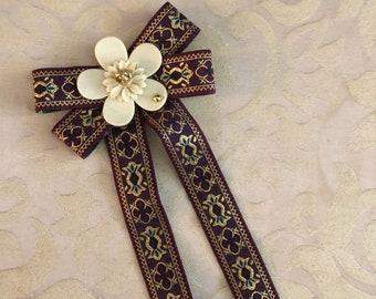 brocade bow camellia flower brooch cc