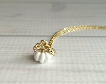 White Pumpkin Necklace - Halloween jewelry jack o lantern trick treat gift - October birthday - small fall autumn pendant charm - gold chain