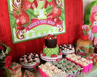 Anniversaire aux fraises Party personnalisé signe - bricolage - bricolage - imprimable fruits Birthday Party