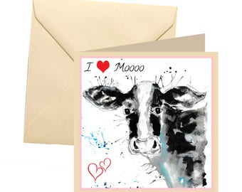 Cow valentines card, valentines card, Love Mooo valentines card, fun valentines card, lovers card, love you card